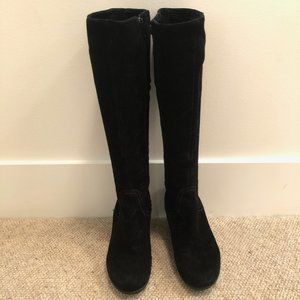 Le Canadienne Black knee high wedge boots